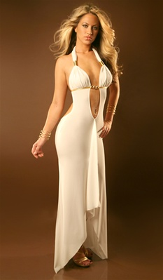 kylie sexy halter gown with gold accents
